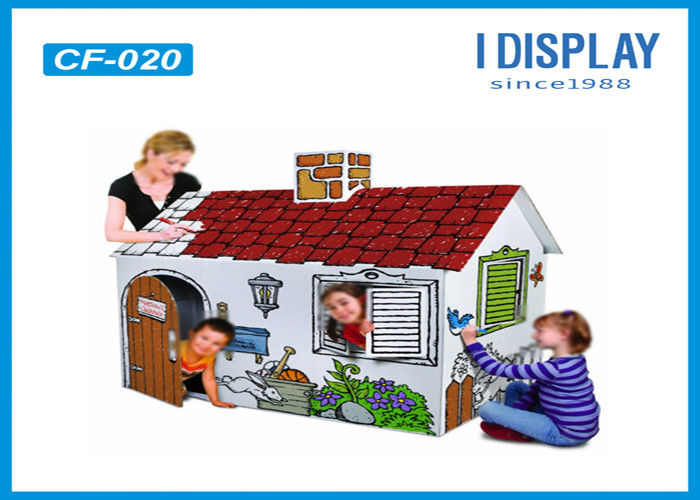 Indoor Corrugated Kids Cardboard House White Color With Reinforce Pad