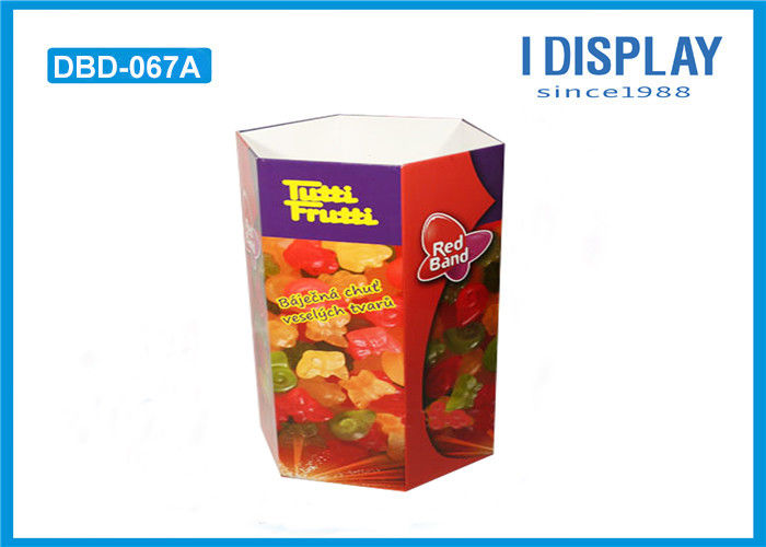 Cardboard Retail Dump Bins Six Faces Offset Printing For Soft Candy