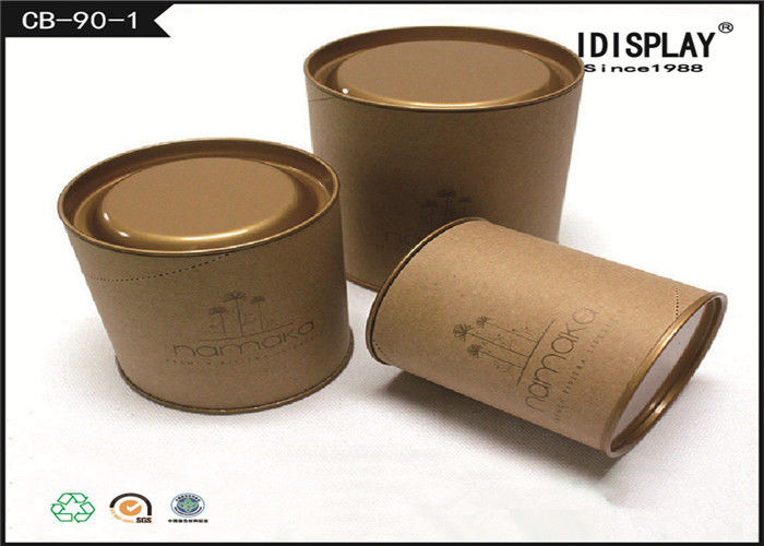 Round Brown Cardboard Tea Gift Box / Tea Gift Packaging Boxes With Metal Cover