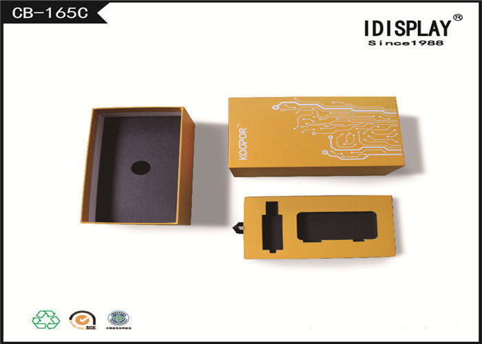 Yellow Decorative Cardboard Gift Boxes , Electronic Cigarette Gift Box  Matte Lamination